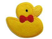 Yellow Duck with Red Bow Head Iron On Applique Patch Applique 2.75 Inches