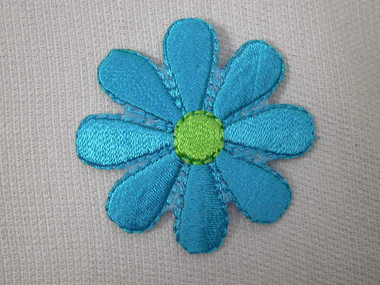 Medium Aqua Blue with Green Daisy Embroidered Iron On Patch 1.5 Inch