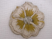 Beige Pansy w Silver Embroidered Iron On Patch .75 In