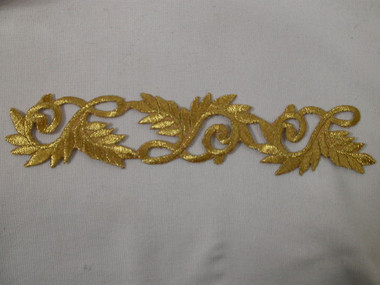Gold Metallic Leaf Scroll Costume Iron On Applique Patch 8.25 Inch