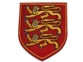 Gold Lions On Red Shield Embroidered Iron On Applique Patch 3.68 Inches Tall