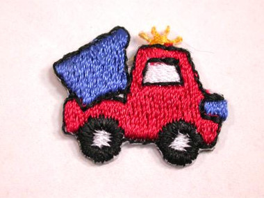 Blue Red Dump Truck Child Iron On Patch 1 In
