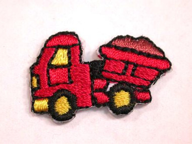 Red Dump Truck Child Iron On Patch 1 In