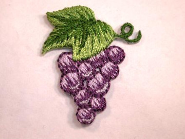 Grape Bunch w Leaf Embroidered Iron On Patch 1.25 In