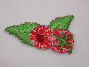 Raspberry w Leaves Embroidered Iron On Patch