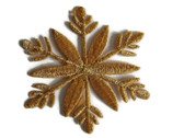 Gold Metallic Snowflake Embroidered Iron On Patch Applique Style B 2.5 In