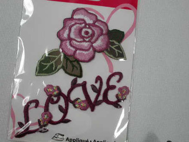 2 Pc Embroidered Iron On LOVE Letters w ROSE Appliques Patches