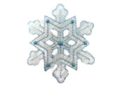 Snowflake Organza Metallic Blue White Embroidered Iron On Patch 2.25 Inches