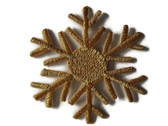 Gold Metallic Snowflake Embroidered Iron On Patch Applique Style C 2.38 In