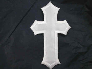 Christian Cross White Iron On Patch Applique 5 Inch