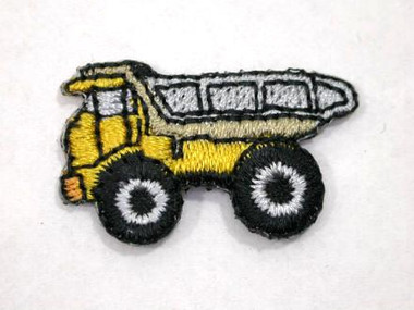 Yellow Dump Truck Child Iron On Patch 1 In