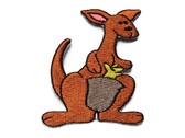 Cartoon Kanagroo with Joey Embroidered Iron On Patch Applique 3 Inch