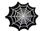 Black Spider Web Embroidered Iron On Patch Applique 3.25 Inch