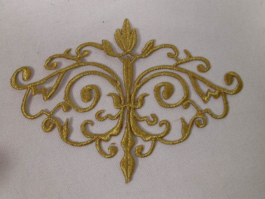 Gold Floral Scrollwork Crest Costume Iron On Applique Patch 6.25 Inches