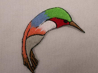 Hummingbird Colorful Iron On Patch 2.25 In