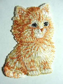 Yellow Orange Kitten Iron On Applique Patch 2.5 Inch