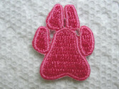 Pink Dog Paw Print Embroidered Iron On Patch 1 In