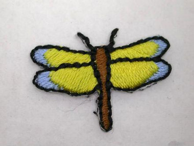 Yellow Blue Dragonfly Infant Iron On Patch .88 In