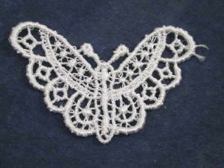 Lace applique blush pink ribbon lace by little loomz on zibbet