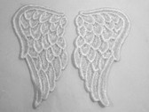 Pair White Venise Lace Angel Wings Applique Patch LARGE