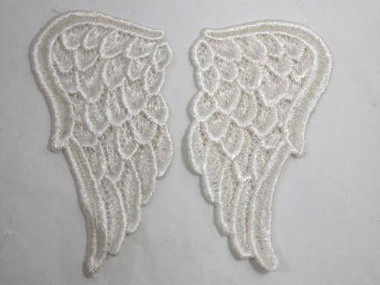 Pair Ivory Venise Lace Angel Wings Applique Patch LARGE