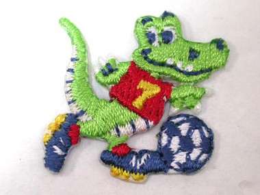 Alligator Playing Soccer Embroidered Iron On Applique Patch