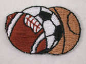 Multiple Ball Sports Iron On Applique Patch 1.25 In
