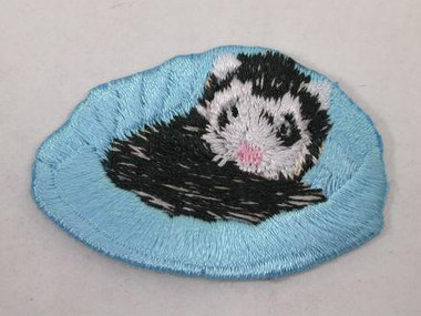 Ferret in Bed Embroidered Iron On Applique Patch