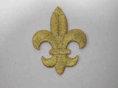 Fleur de Lis Gold Metallic Iron On Patch 2.5 Inch