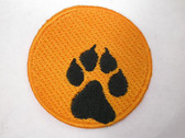 "Wolf Paw On Bright Orange Moon Halloween 1 3/4"" Iron On Patch Applique"