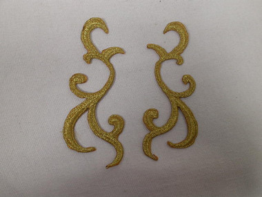 Pair Gold Metallic Scrolls Costume Iron On Embroidered Patches 4.38 Inches