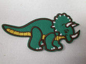 3.75 Inch Green Yellow Triceratops Dinosaur Child Cartoon Iron On Patch Applique