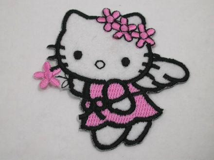 Pink hello kitty cat angel iron on patches appliques