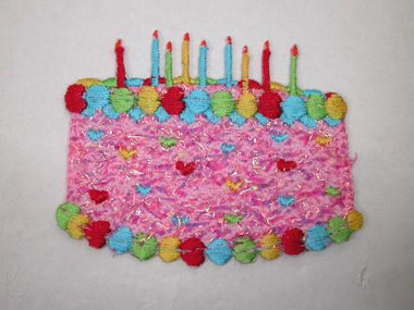 Pink Birthday Cake Candles Iron On Patch
