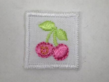 Hot Pink Cherry in Square Embroidered Iron On Patch