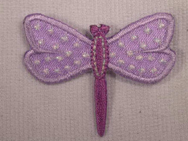 Lilac Pearlized Dragonfly Embroidered Iron On Applique Patch