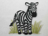 Zebra in Grass Child Iron On Embroidered Applique Patch