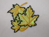 Gold Leaf Cluster Lustrous Iron On Patch Applique 2.50 inches