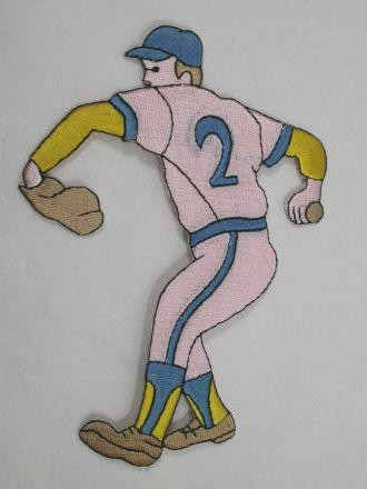 Baseball Player Blue Hat Iron On Applique Patch