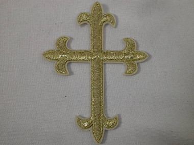3 x 4 Christian Fleury Gold Cross Embroidered Iron On Patch