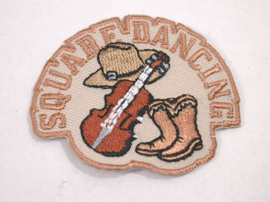 Square Dancing Fiddle Hat Boots Iron On Applique Patch
