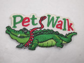Pet Walk w Alligator Embroidered Iron On Patch