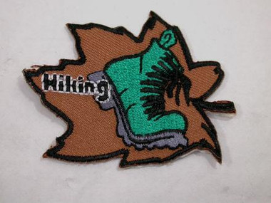 Hiking Leaf w Boot Embroidered Iron On Patch