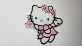 Pink Miss Kitty Cat Angel Iron On Fleece Patch