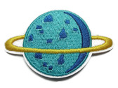 Ringed Blue Saturn Planet Embroidered Iron On Patch Applique 2.75 Inches