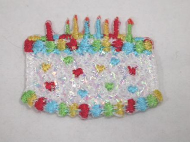 White Birthday Cake Candles Iron On Patch