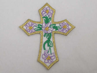 Christian Gold Cross w Flowers Iron On Patch 2 In