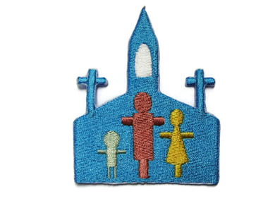 Christian Church w People Embroidered Iron On Patch Applique 2.88 Inch