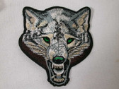 Growling Wolf Face Emblem Embroidered Iron On Patch 4 Inch