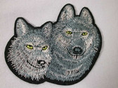 Wolf Faces Pair Embroidered Iron On Patch 3 3/4 Inch